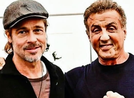 Brad Pitt and Sylvester Stallone bump into each other at the art festival!
