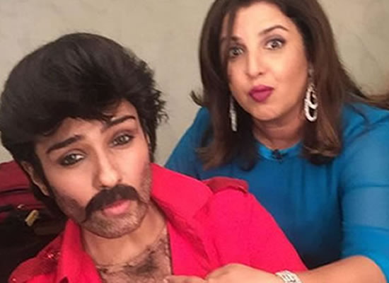 Raveena Tandon dressed as Anil Kapoor for Farah Khan's new TV show!