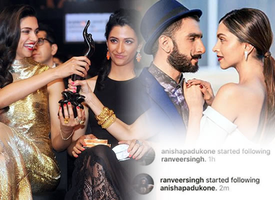 Now Deepika's sister and Ranveer Singh start following each other on social media!