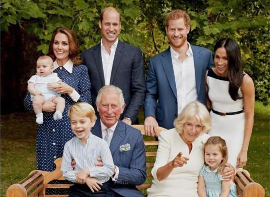 Prince Harry and Meghan Markle pose with the family for Prince Charles' 70th birthday!