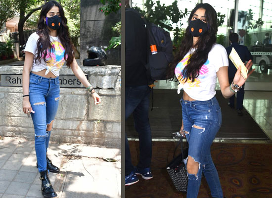 Janhvi Kapoor's stylish airport look in a white tee with ripped jeans!