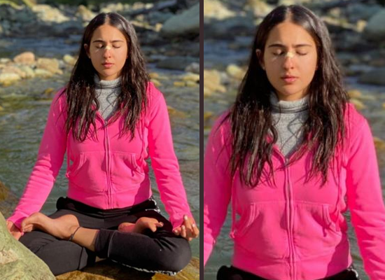 Sara Ali Khan practices Yoga on the bank of a river in Kashmir!
