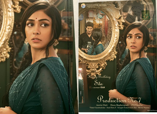 Mrunal Thakur's retro look as Sita in the first look of her next with Dulquer Salmaan!